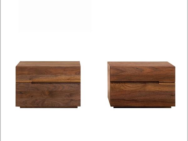LIGNRUE复古卧室床头柜实木简约现代二斗储物柜抽屉收纳柜