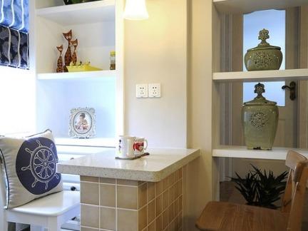 清新地中海风格小户型吧台装修图片