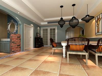 田园风格-90平米二居室装修样板间