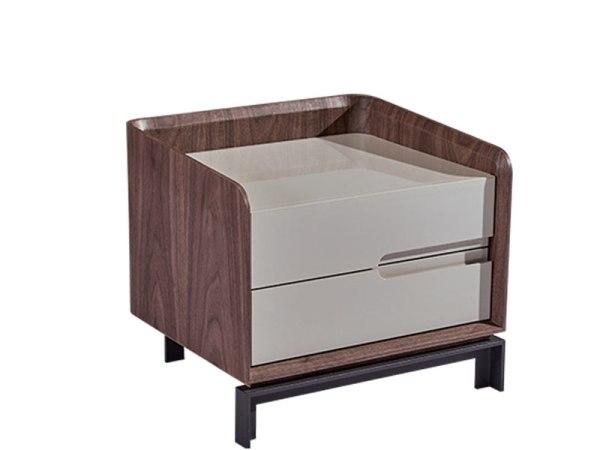 LIGNRUE 床头柜简约现代中式卧室边柜实木烤漆宜家储物柜