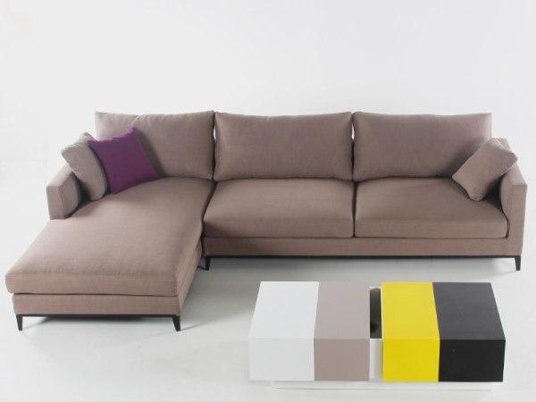 LIGNRUE 三人布艺沙发组合转角可拆洗现代简约客厅家具