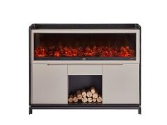 LIGNRUE 实木餐边柜子储物柜简约现代烤漆创意装饰壁炉
