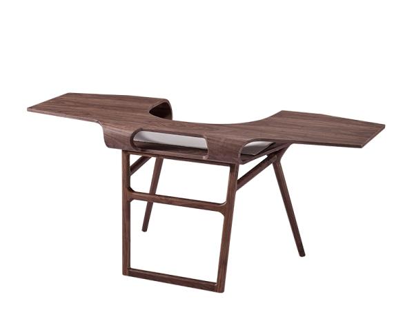LIGNRUE 新中式实木书桌写字台电脑桌后现代工艺办公桌