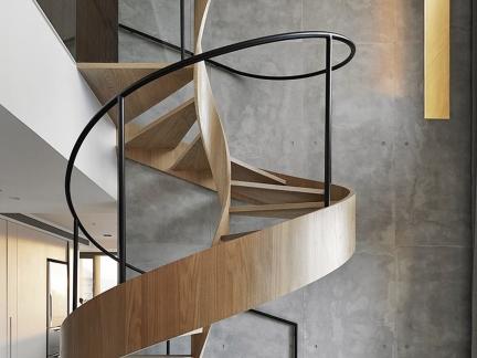 时尚复式原木色楼梯创意设计效果图