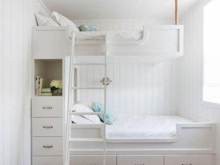 家装简约风格儿童房白色实木床装修案例