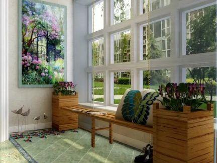 简欧风格四居室阳台瓷砖装修效果图欣赏
