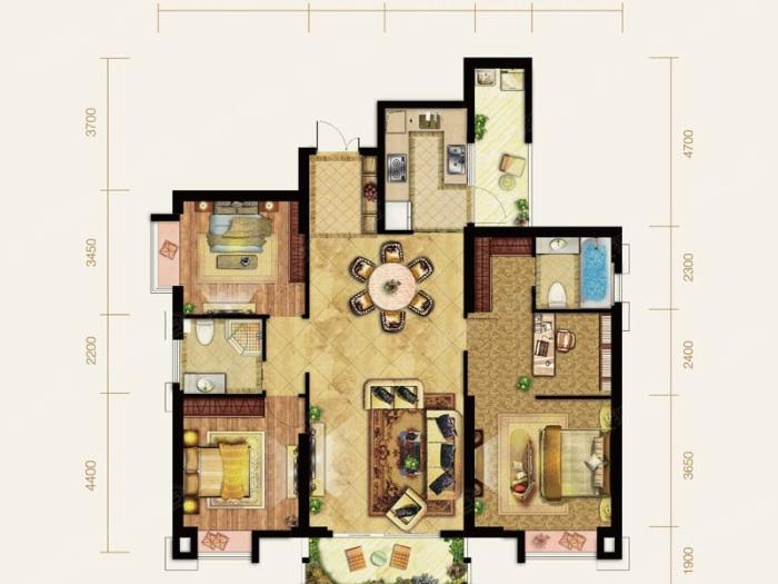 中式风格-160平米四居室-装修样板间