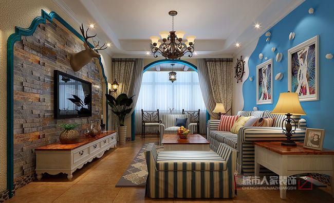 地中海风格-85.07平米二居室-装修样板间
