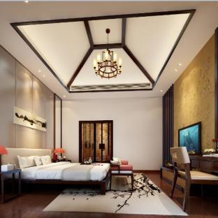 现代中式风格五居室卧室装修效果图图片