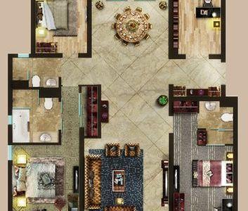 简欧风格-206平米四居室装修样板间