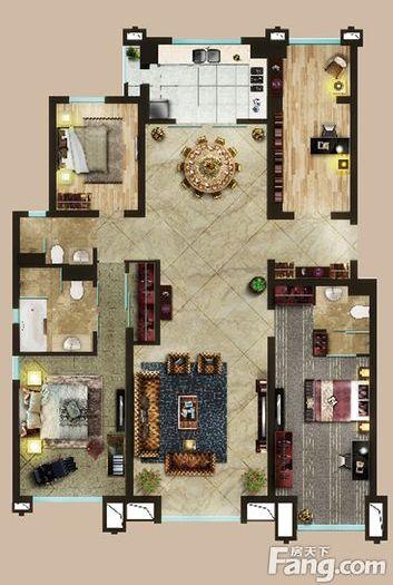 简欧风格-206平米四居室-装修样板间