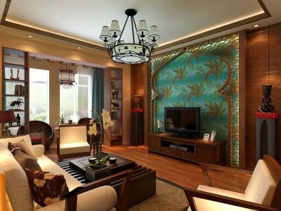 东南亚风格-111.71平米三居室装修样板间