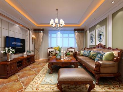 欧美风情-145平米三居室装修样板间