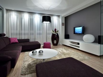 个性时尚公寓客厅白色电视柜装修效果图