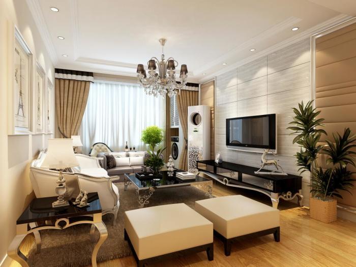 简欧风格-128平米三居室-装修样板间