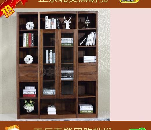 北美黑胡桃实木家具书柜四门衣柜转角书柜