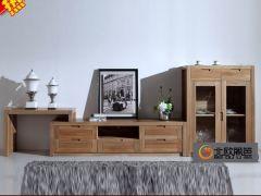俄罗斯榆木实木客厅电视柜酒柜组合Y-T01