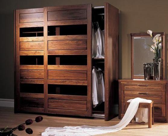 北美黑胡桃实木移门衣柜