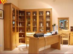 俄罗斯榆木实木书柜