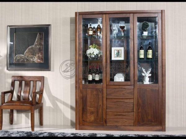 黑胡桃纯实木两门三门酒柜