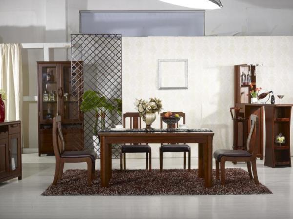非洲海棠木真皮椅躺椅餐桌一桌四椅