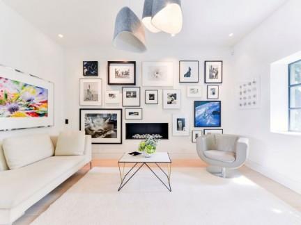 清新明快北欧风格客厅照片墙装修实景图