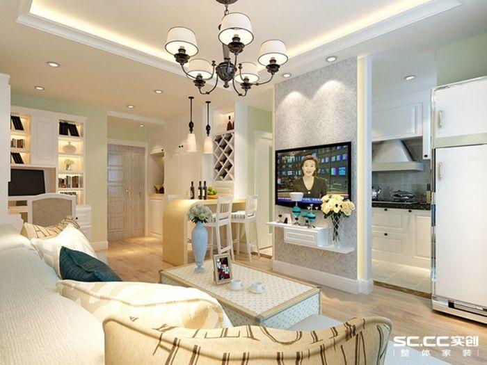 混搭风格-60平米一居室-装修样板间