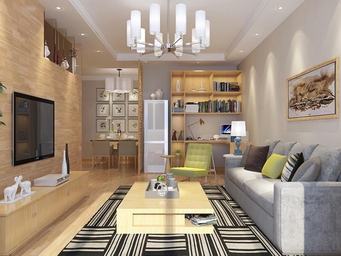 日韩风格-89平米二居室-装修样板间