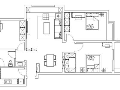 简欧风格-103平米二居室装修样板间