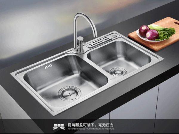 苏泊尔卫浴水槽双槽套餐304不锈钢洗菜盆