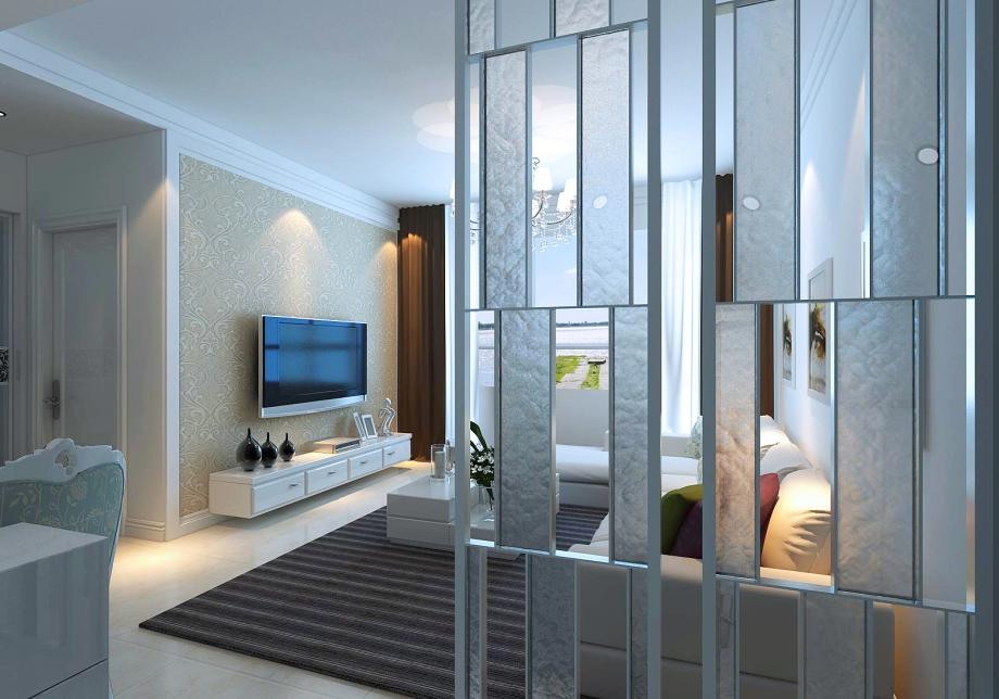 城 现代简约 93平米三居室装修图片高清图片