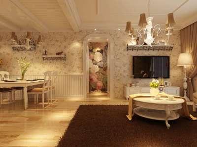 田园风格-115平米二居室装修样板间