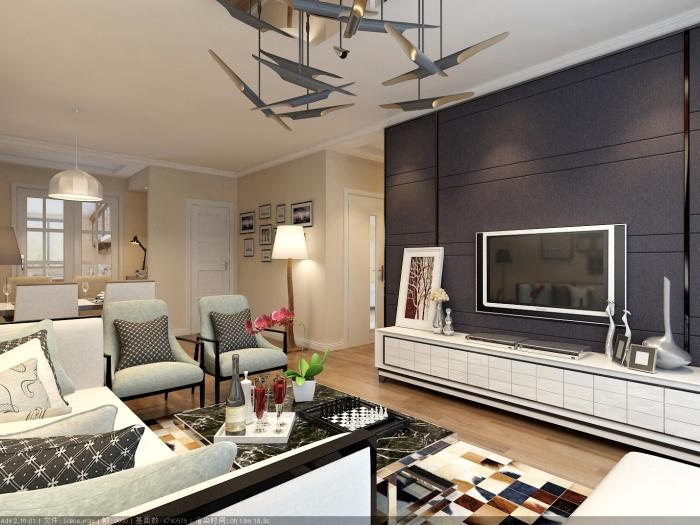 现代简约-124平米三居室-装修样板间