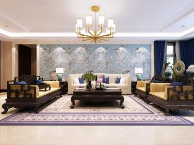 中式风格-348.67平米五居室装修样板间