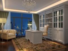 欧式白色实木夹板带线条罗马柱书柜,书房家具定做