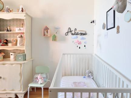 优雅简欧风格可爱儿童房婴儿床实景图