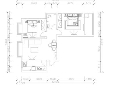 地中海风格-85平米二居室装修样板间