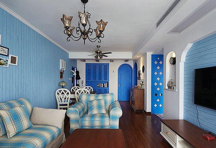 地中海风格-89平米二居室-装修样板间