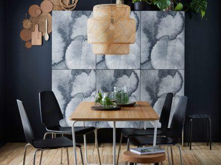 自然优雅现代风格餐厅背景墙装修设计图