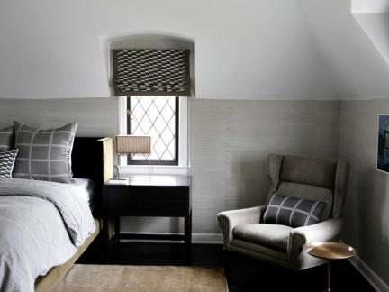 灰色现代风格卧室沙发装修实景图