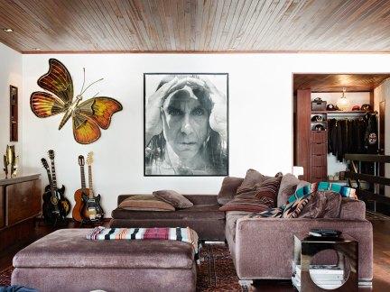 创意美式风格客厅紫色沙发装修图片