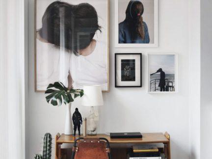 混搭风格个性书房背景墙设计效果图