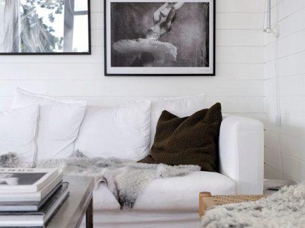 北欧风格清爽客厅文艺范照片墙设计欣赏