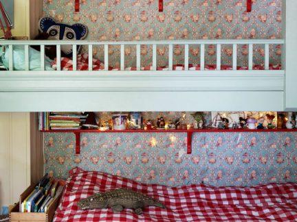 活泼温暖欧式风格可爱儿童房上下床图片