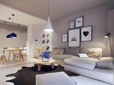 现代简约-98平米二居室装修样板间