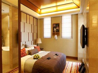 东南亚风格-91平米三居室装修样板间