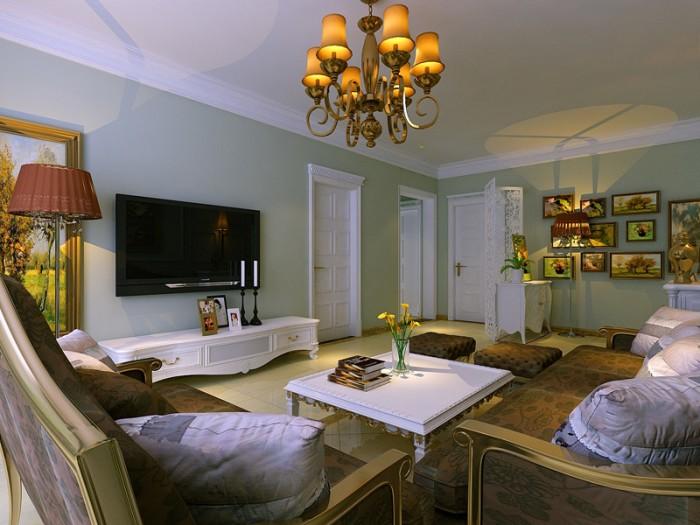 欧美风情-130平米三居室-装修样板间