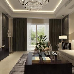 现代港式三居室客厅装修效果图