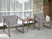 阳台户外休闲桌椅馨宁居简约仿实木椅子庭院阳台桌椅三件套