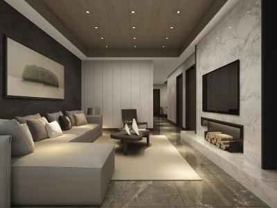 欧美风情-105.23平米三居室装修样板间